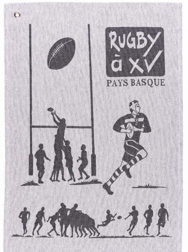 Torchon Rugby noir - Côte Basque